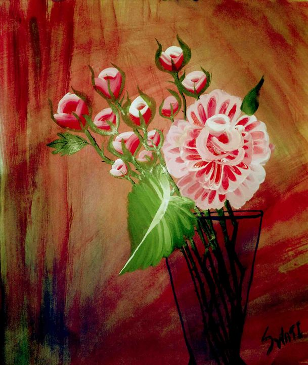 Roses with vase - Magical Art World