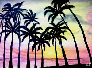 Beach side colorfull painting