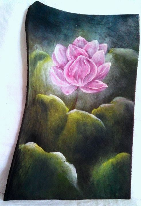 "waterlilly on leather 9""x6"" - dianestudio"