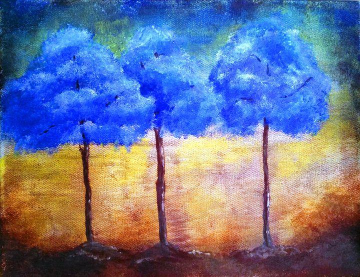 3 blue trees - dianestudio
