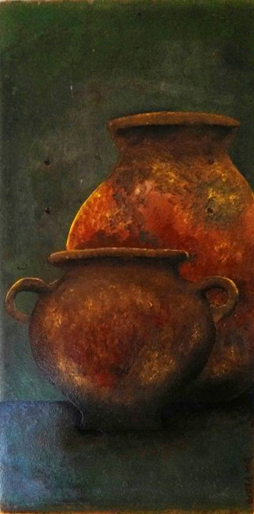 "2 brown jugs 8""x16"" - dianestudio"