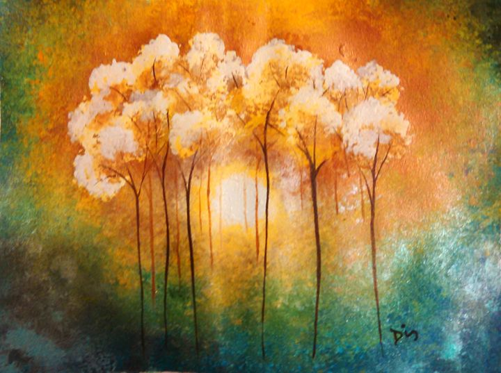 yellow trees abstract - dianestudio