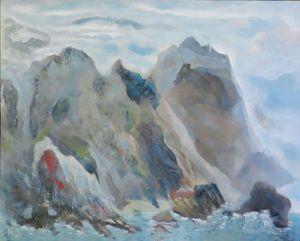 Hand-painted landscape by Mamuka.
