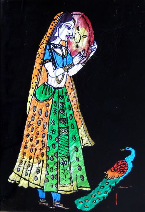 Indian Lady with Peacock - Rashmi N.J.