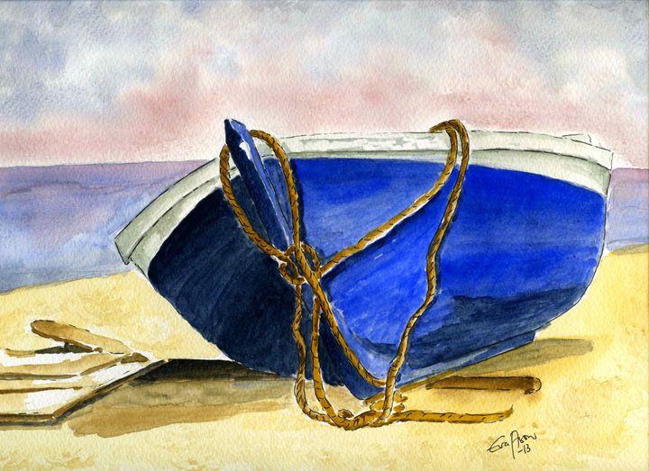 Boat on the beach - Eva Asons Art