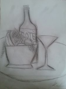 bowl of friut and wine