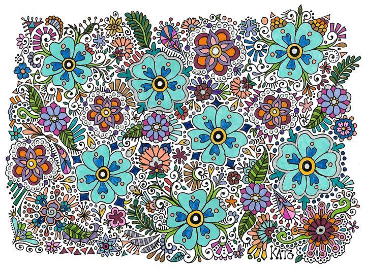 Flower Field - Color - KADoodles