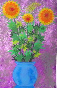Yellow/Orange flowers in Blue pot