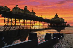 Pier at Sunset Oil Painting Style