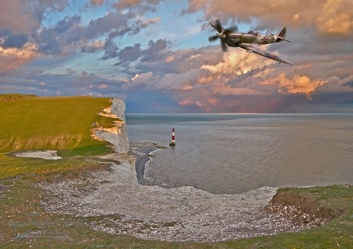 Spitfire Over Beachy Head - Lionel Fraser, Pictures of Eastbourne, England