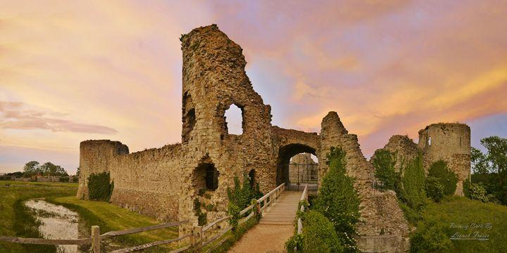 Pevensey Castle Sunset - Lionel Fraser, Pictures of Eastbourne, England