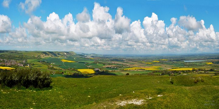 View From The Top of Southdowns - Lionel Fraser, Pictures of Eastbourne, England