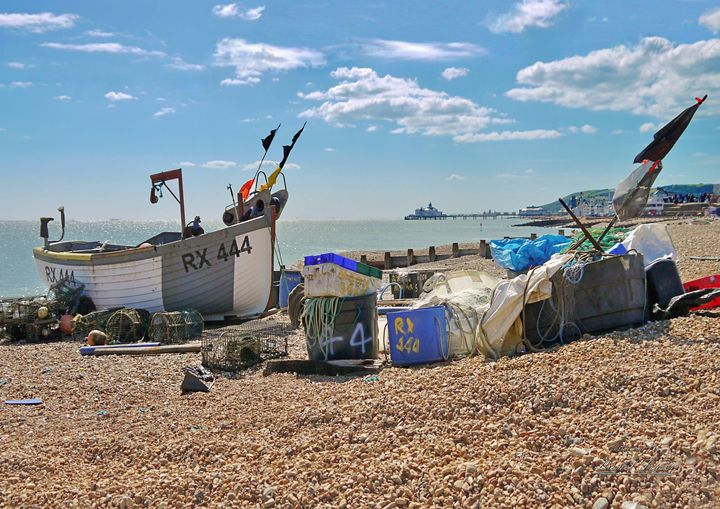 Fishing Boat on Eastbourne Beach - Lionel Fraser, Pictures of Eastbourne, England