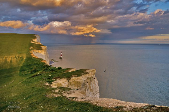 A Sunset on a Storm at Beachy Head - Lionel Fraser, Pictures of Eastbourne, England