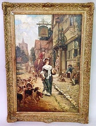 19th C. Oil on canvas English School - Ocean View Antiques, Artefacts and Artwork
