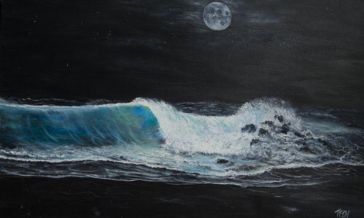 Blue moon over black sand beach - Tyson environmental art