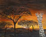 30 x 24 African giraffe painting