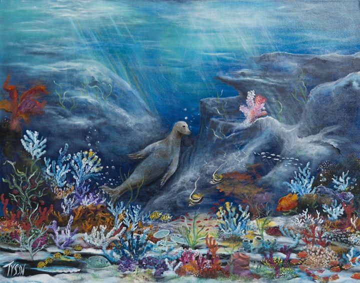 Lion on the reef - Tyson environmental art