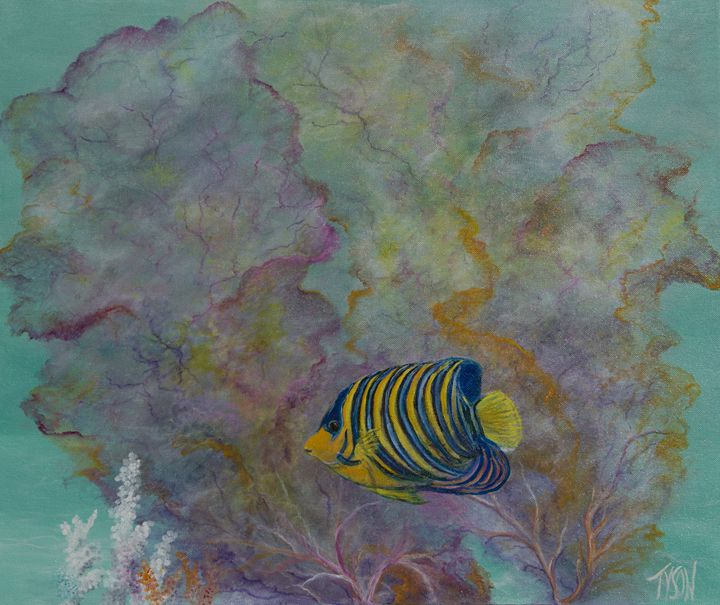 Regal angel with sea fan - Tyson environmental art