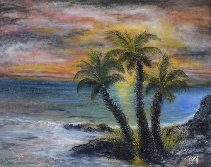 Three palms at sunset - Tyson environmental art