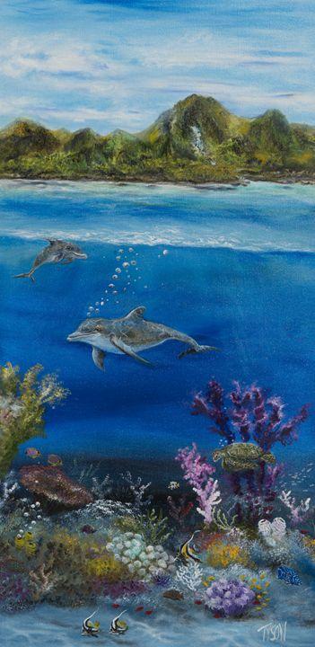 Dolphins at play - Tyson environmental art