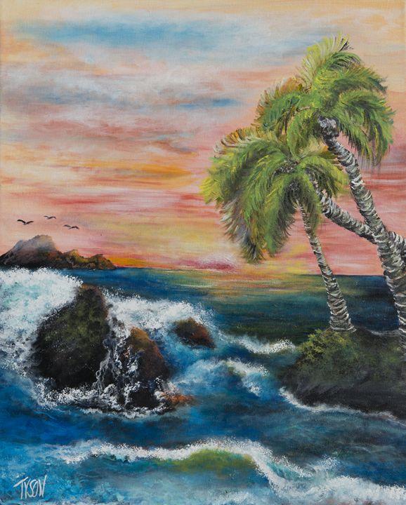 Sunset with palms - Tyson environmental art