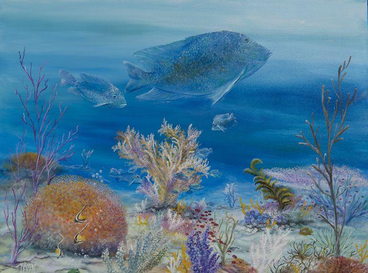 Blue surgeon fish - Tyson environmental art