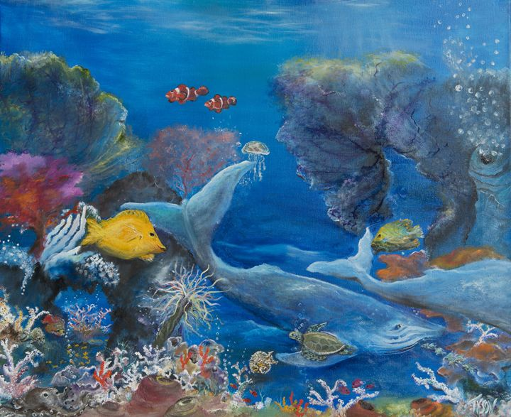 Giant visitors of the reef - Tyson environmental art
