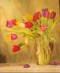 Tulips in Vase. - Raymond Samuel