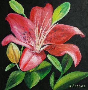 Red flower original oil painting