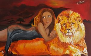 Lion and a girl