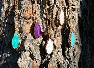 Hand dipped stone pendant