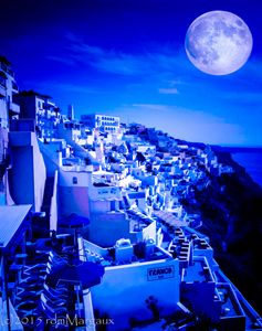 Blue Moon Over Fira Santorini