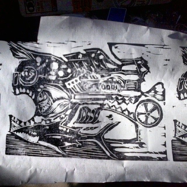 a MotorMouth block print - ETNART Evan Thomas Niemann