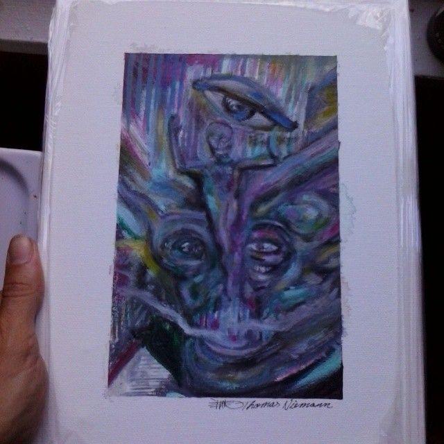 a original oil painting Monster bath - ETNART Evan Thomas Niemann