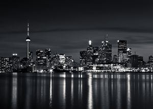Toronto Skyline At Night No 2 BW