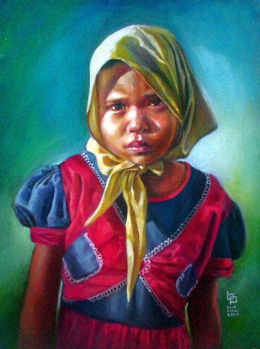 Girl in Yellow Bandana - Bong Perez Art Gallery
