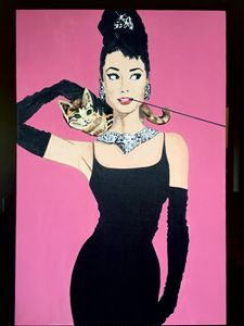 Original Audrey Hepburn painting wit