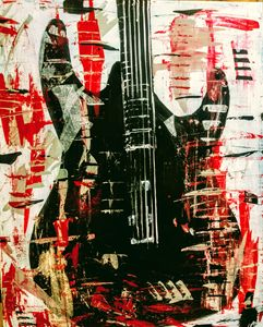 Abstract guitar deep red