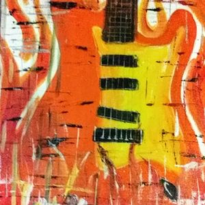 Abstract Guitar-fire orange