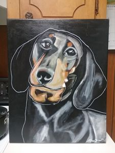 Original Dachshund Dog Painting