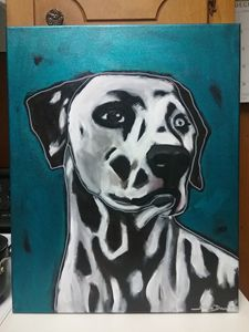 Abstract Dalmatian Acrylic Painting