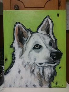 Berger Blanc Suisse Dog painting