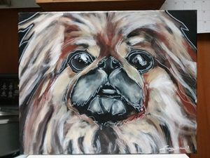 Pekingese Dog Painting acrylic - Susan Dunn