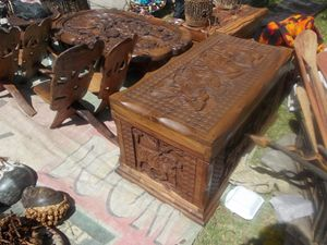 CARVED STORAGE BOX, COFFEE TABLES