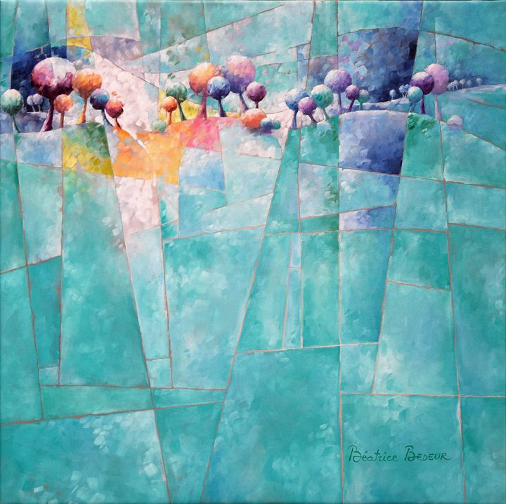 Landscape and trees in turquoise - Beatrice BEDEUR