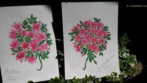 Azalea & Clematis Print Pair - Nancy's Botan Painting