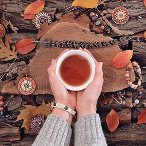 Autumnal tea drinking