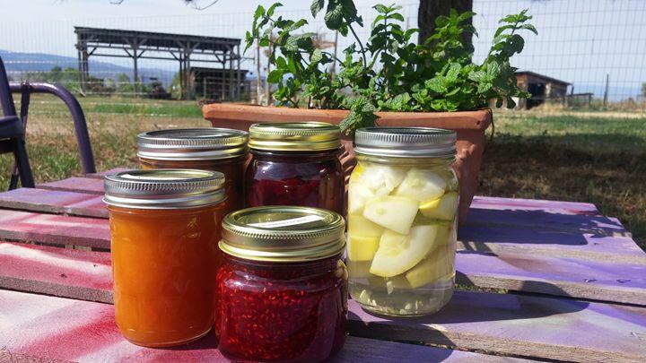 5 canning jars outside - Blue Blue Sky Creations