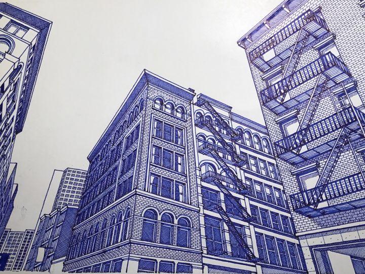 Lower Manhattan Building. - Man in blue artist